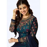 Poly Georgette Embroidered Salwar Suit Material  (Semi Stitched)