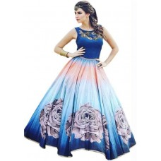Royal Drift Silk Printed Semi-stitched Gown